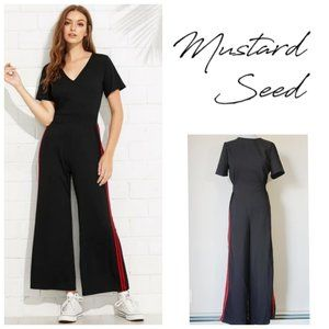 MUSTARD SEED Black Striped Jumpsuit